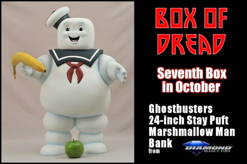 """Horror Subscription Box Service Box Of Dread Seventh Box in October 2014 featuring Ghostbusters 24"""" Stay Puft Marshmallow Man bank"""