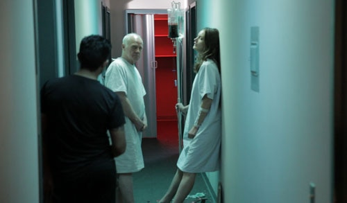 Leon Russom and Stefanie Estes on set of BETHANY