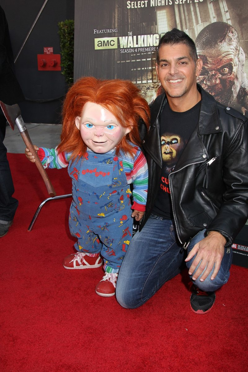 Don Mancini and Chucky at the HALLOWEEN HORROR NIGHTS EYEGORE AWARDS at Universal Studios Hollywood, Septemember 20, 2013. Photo Credit Sue Schneider_MGP Agency
