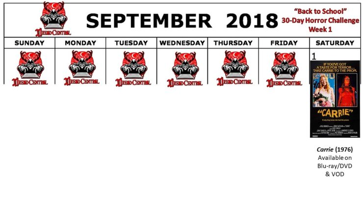 September 2018 30 Day Horror Challenge Week 1 - Back to School: Dread Central's 30-Day Horror Challenge for September 2018