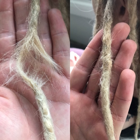 This image shows some critical before and after dreadlock body work. This client's dreadlock was nearly falling off so I strengthened and repaired it!