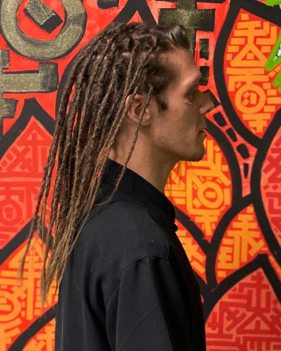 This picture is taken from the side of my client, showing his new dreadlock profile.