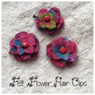 Flower Hair Clips - Pink