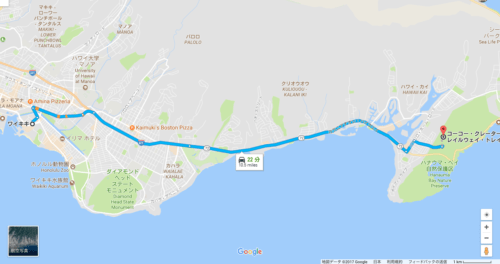 ココヘッド ワイキキから車 地図