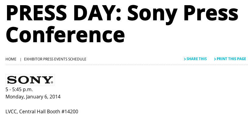 Sony、CESでプレスイベントを実施 Xperia Z1 miniや次期フラッグシップSiriusを発表