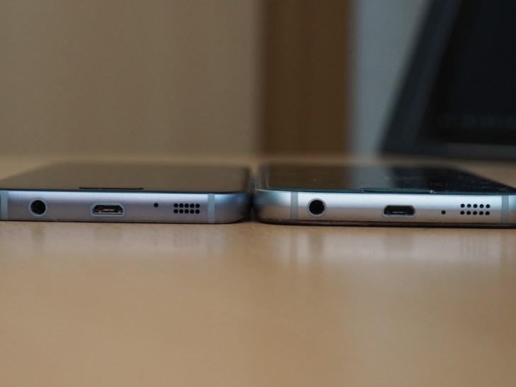 左がGalaxy S7、右がGalaxy S6