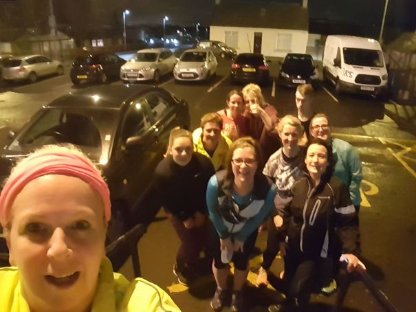Jolly Joggers jogscotland group after an evening session