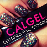 hand with sparkly nails holding a badge with the words Calgel Certified Nail Technician