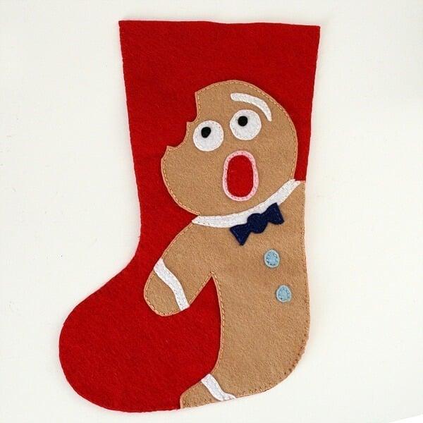 Felt Distressed Gingerbread Man Christmas Stocking Pattern | Dream a Little Bigger