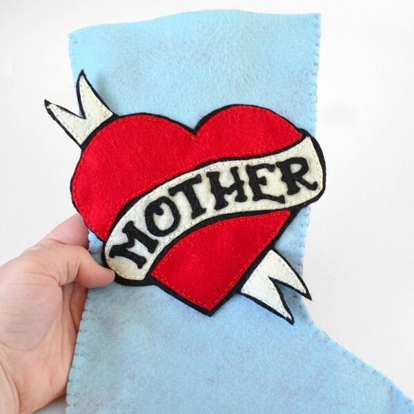 Vintage Mother Felt Stocking Pattern for Tattooed Martha by www.dreamalittlebigger.com