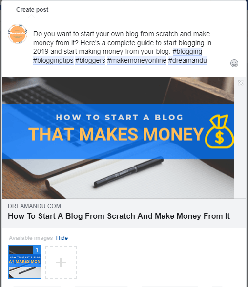 Sharing a post on facebook for free targeted traffic
