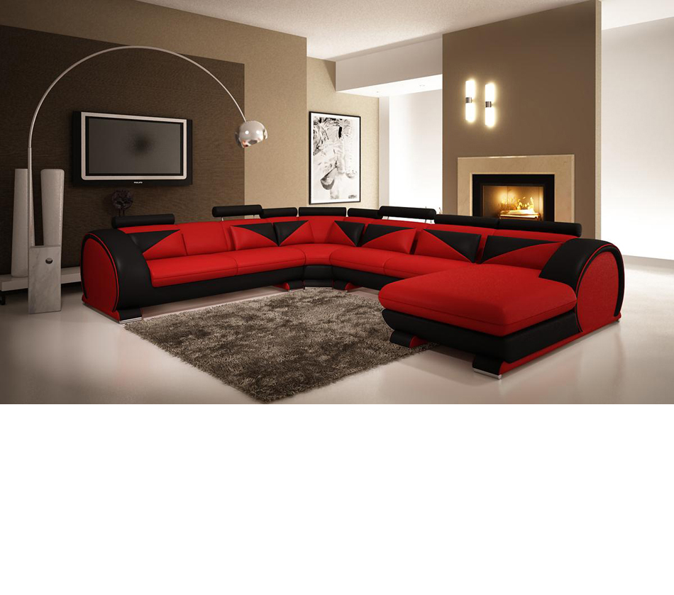 modern red and black leather sectional sofa with headrests
