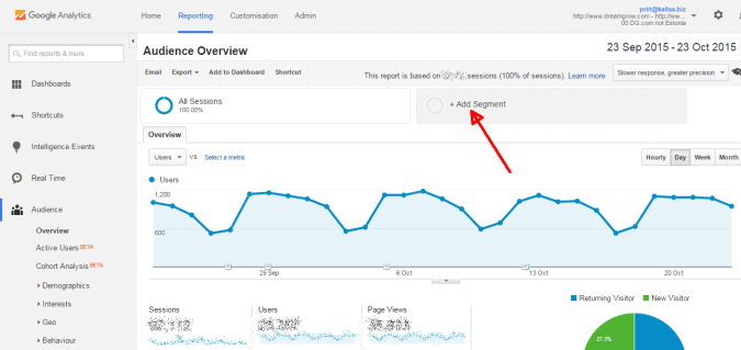 create google analytics social media segment