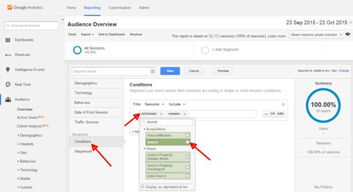 google analytics social media segment parameters
