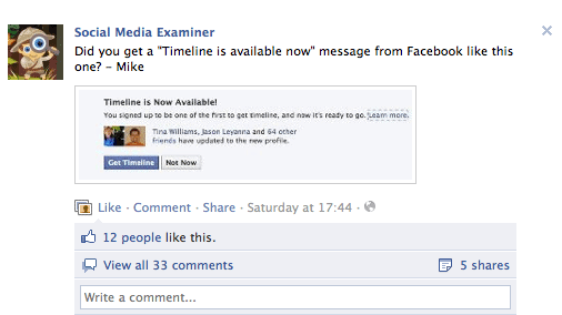 Facebook personalized communication example