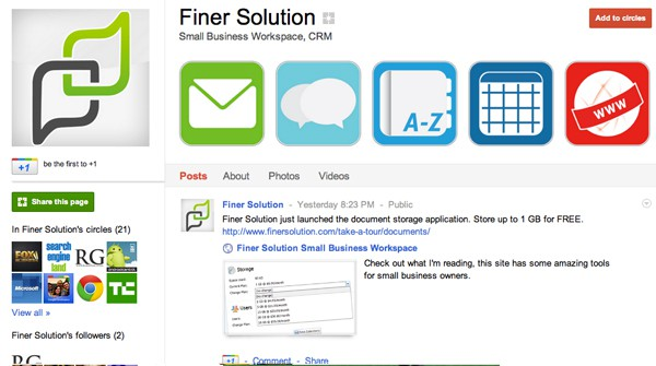 finer solution google plus page