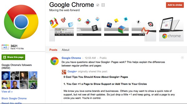 google chrome google plus page