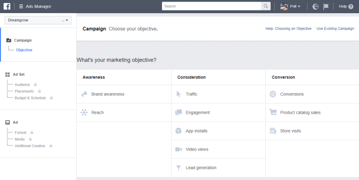 facebook campaign goal