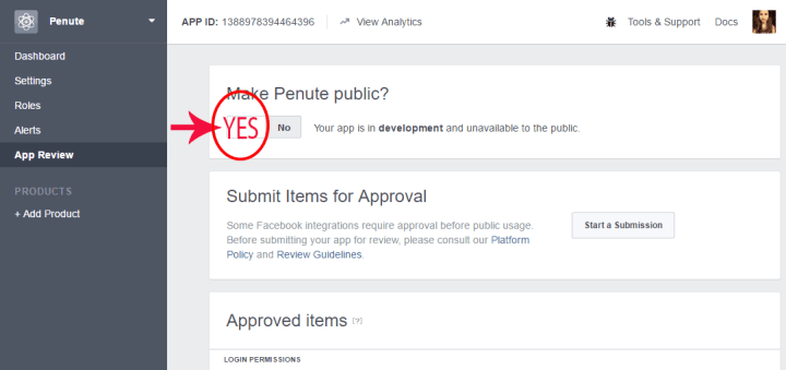 facebook page app settings publish