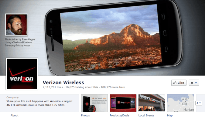 facebook cover page verizon