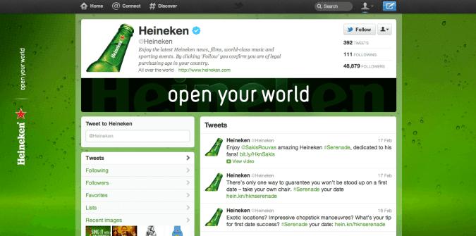 heineken twitter brand page