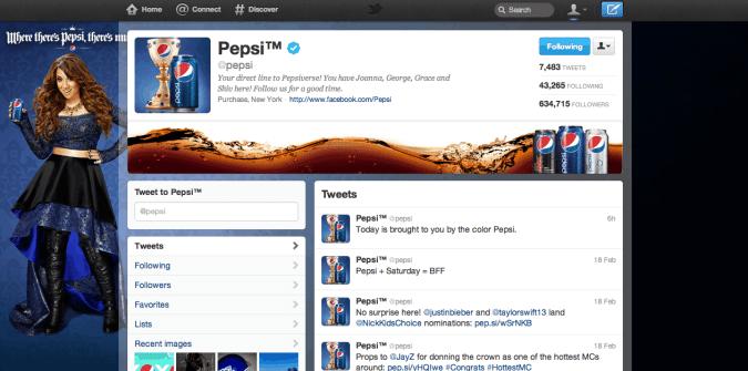 pepsi twitter brand page