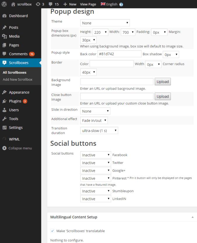 scroll triggered box settings design