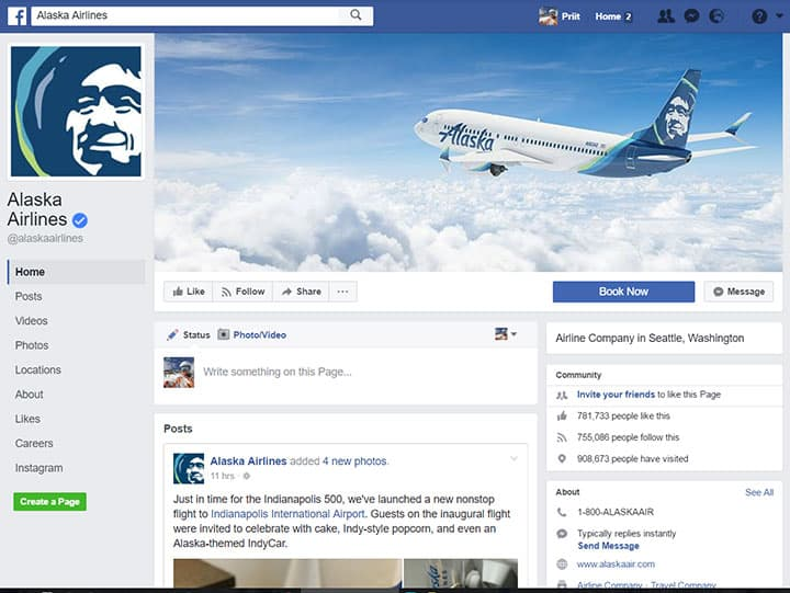 alaska airlines facebook page