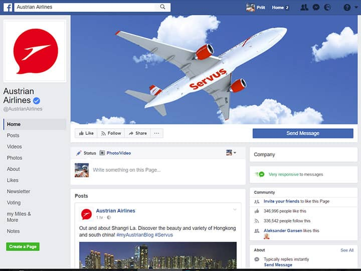 austrian airlines facebook page