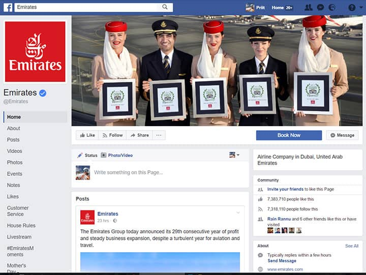 emirates facebook page