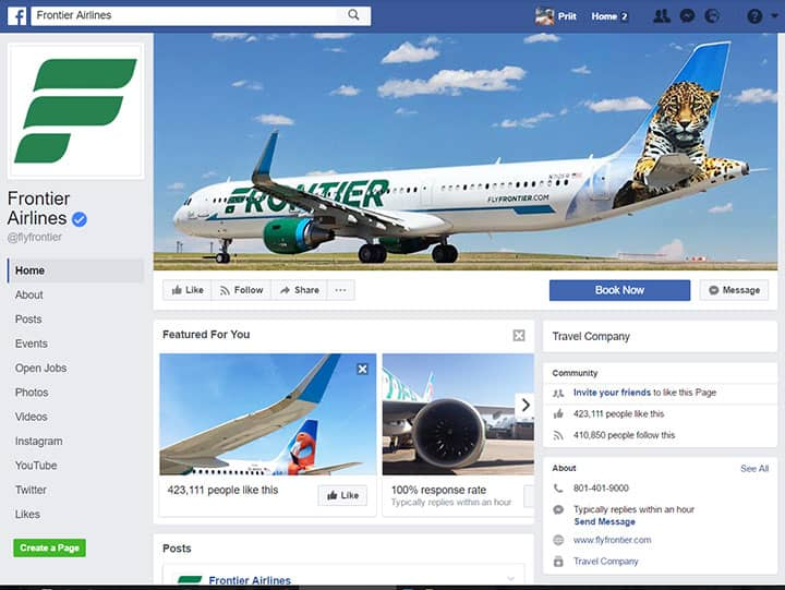 frontier airlines facebook page