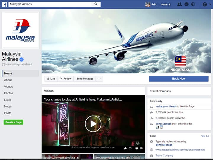 malaysia airlines facebook page