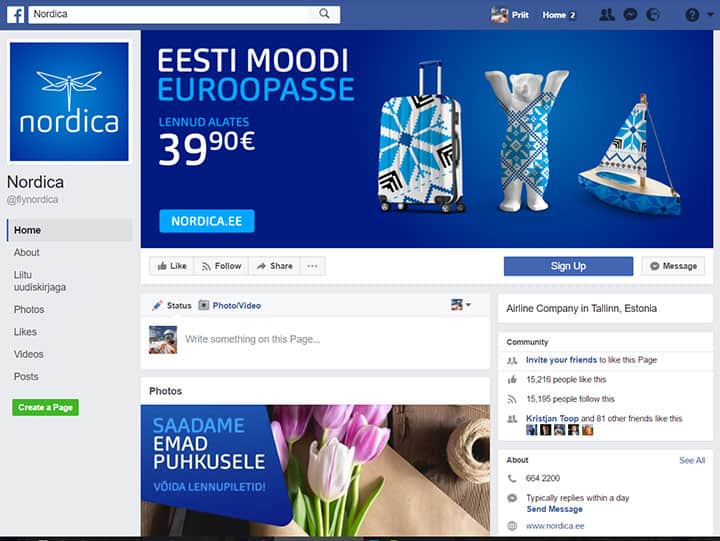 nordica facebook page