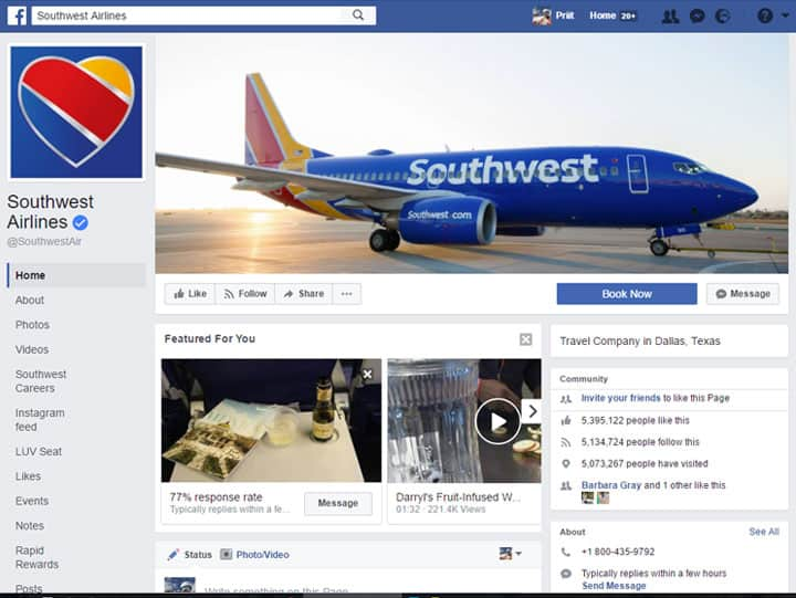 southwest airlines facebook page