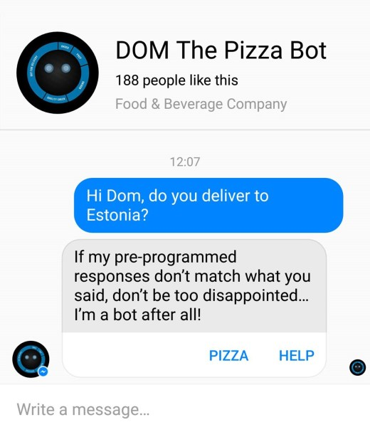 dominos pizza messenger bot