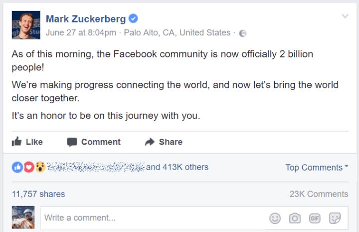 Zuckerberg post 2 billion Facebook monthly active users