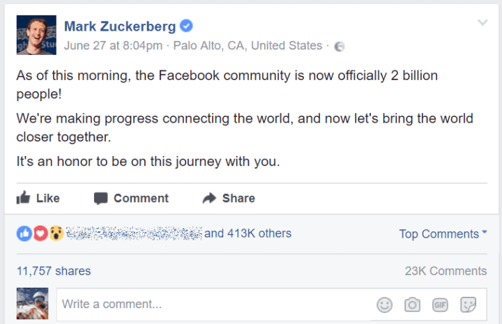 Zuckerberg post 2 billion Facebook monthly active users