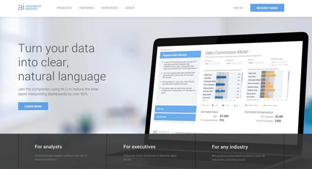 The Automated Insights home page.