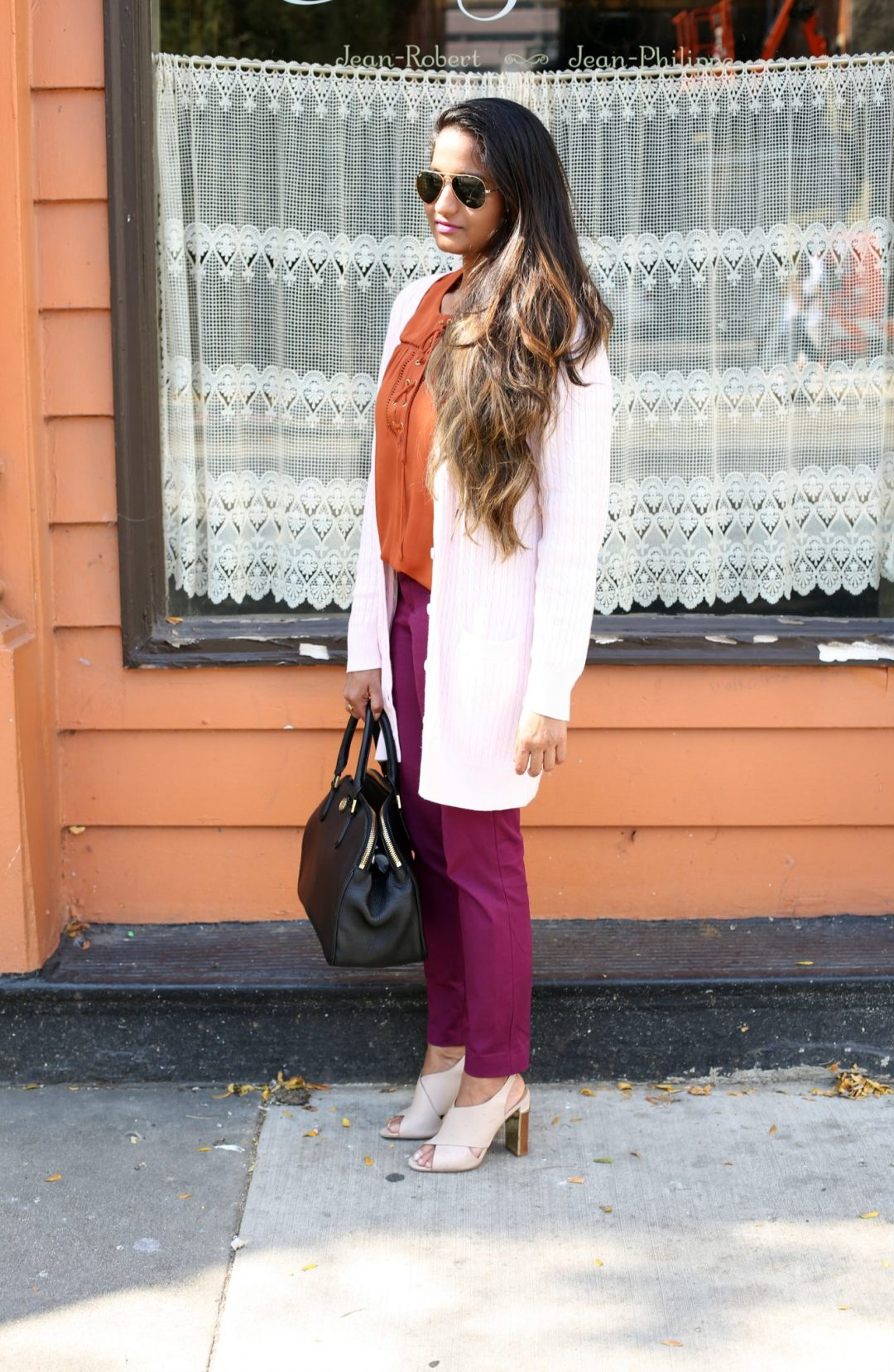 Lifestyle Blogger Surekha in Dreaming Loud Sharing Fall Work wear outfit in Purple, Rust and Blush