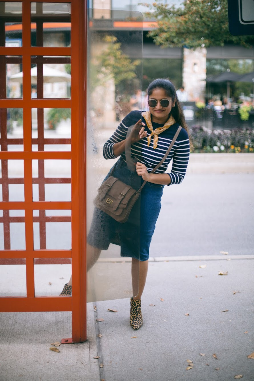 Lifestyle-blogger-Surekha-of-dreaming-loud-wearing-Target-A-New-Day-Women's-Striped-3:4-Sleeve-Boatneck-T-Shirt
