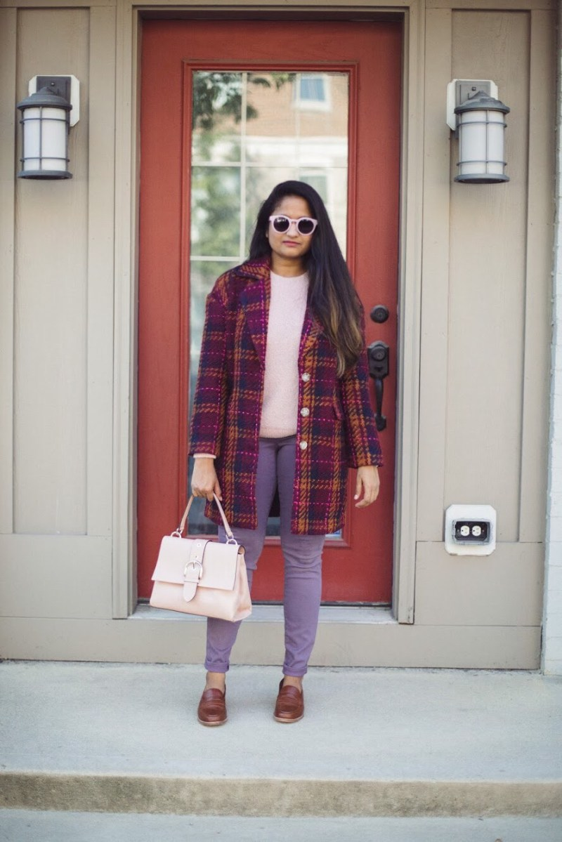 Lifestyle blogger Surekha of dreaming loud wearing target a new day plaid top coat in Cherry