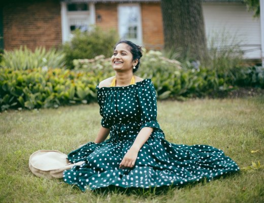 lifestyle-blogger-surekha-of-dreaming-loud-wearing-Shein-Polka-Dot Bardot-Neckline-Tie-Waist-Dress-6