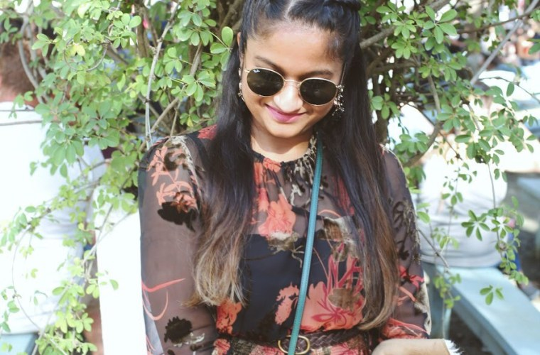 Lifestyle Blogger Surekha of Dreaming Loud Wearing Zara velvet floral midi dress with elastic waist2