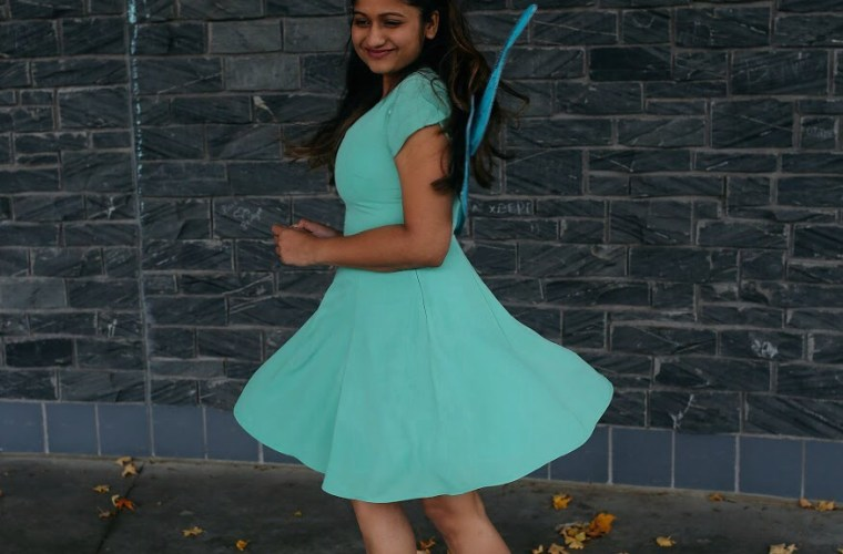Lifestyle Blogger Surekha of Dreaming Loud wearing Banana republic fit and flare flutter sleeve dress