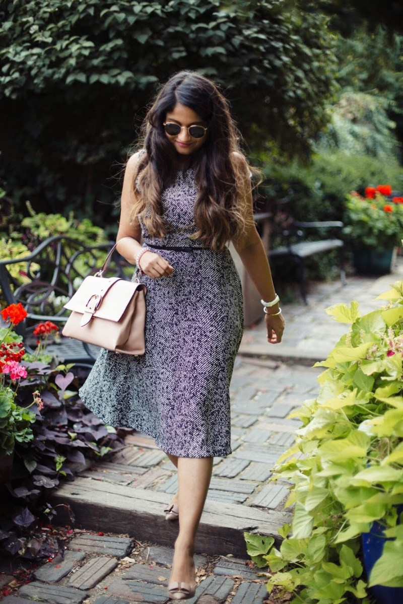 Lifestyle-Blogger-Surekha-of-dreaming-loud-wearing-Letote- PHILOSOPHY-Herringbone-Dress