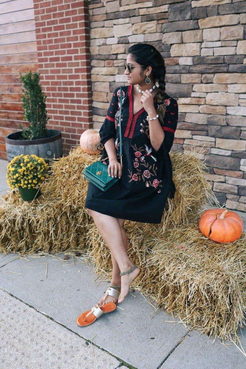 Lifestyle Blogger Surekha of Dreaming Loud Wearing River Island Embroidered Kimono Sleeve Dress 1