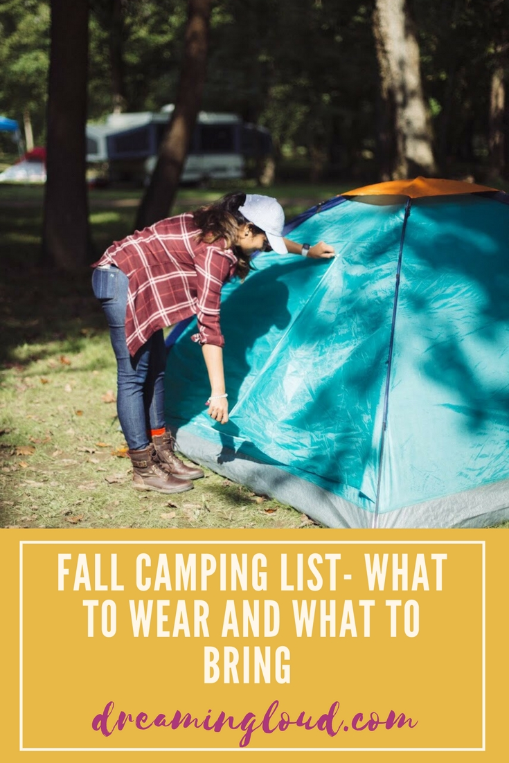 Lifestyle blogger Surekha of Dreaming Loud sharing fall tent camping checklist- what to expect, what to wear and what to bring with you