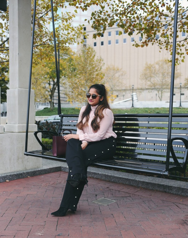 Lifestyle Blogger Surekha of Dreaming Loud Wearing Vince Camuto Ruffle- neck blouse in pink