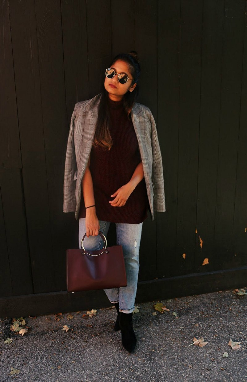 Lifestyle Blogger Surekha of Dreaming Loud wearing target a new day plaid blazer