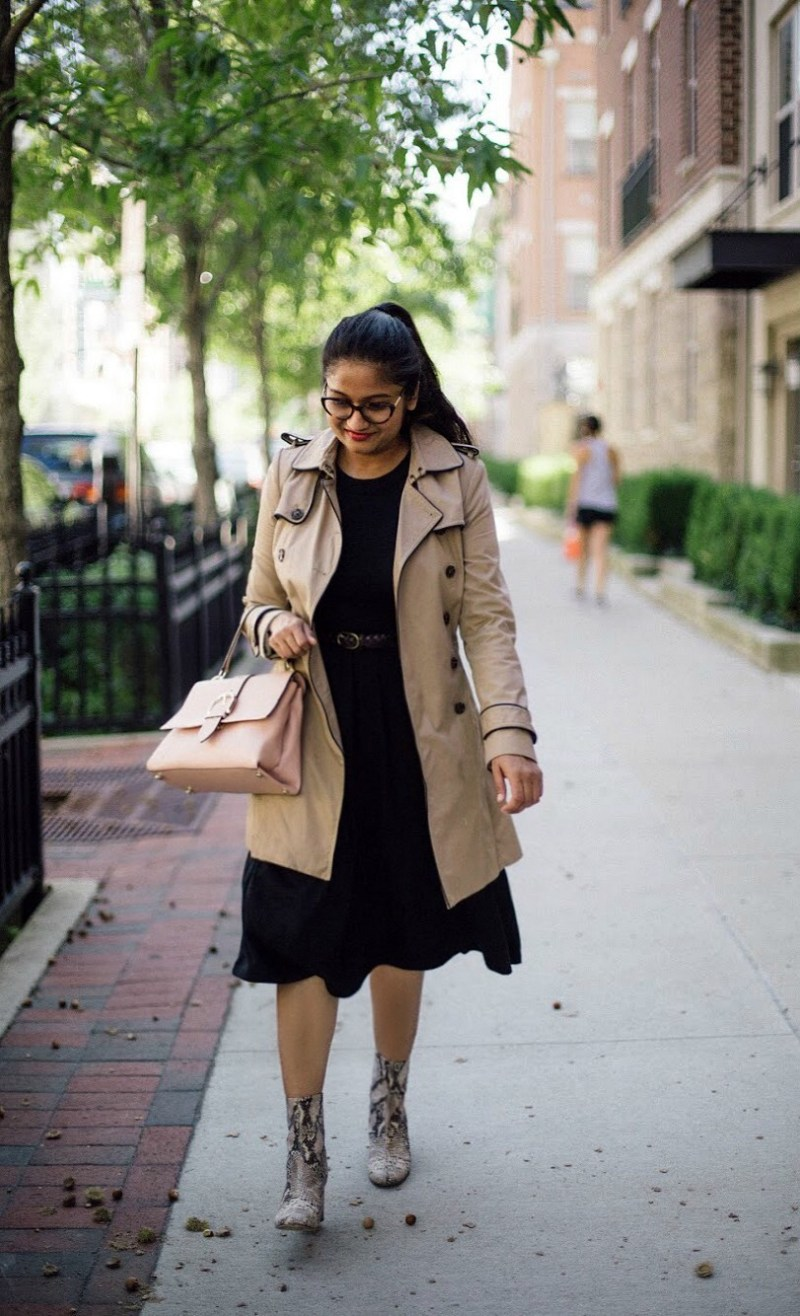 lifestyle blogger Surekha of dreaming loud wearing black fit and flare dress with trench coat